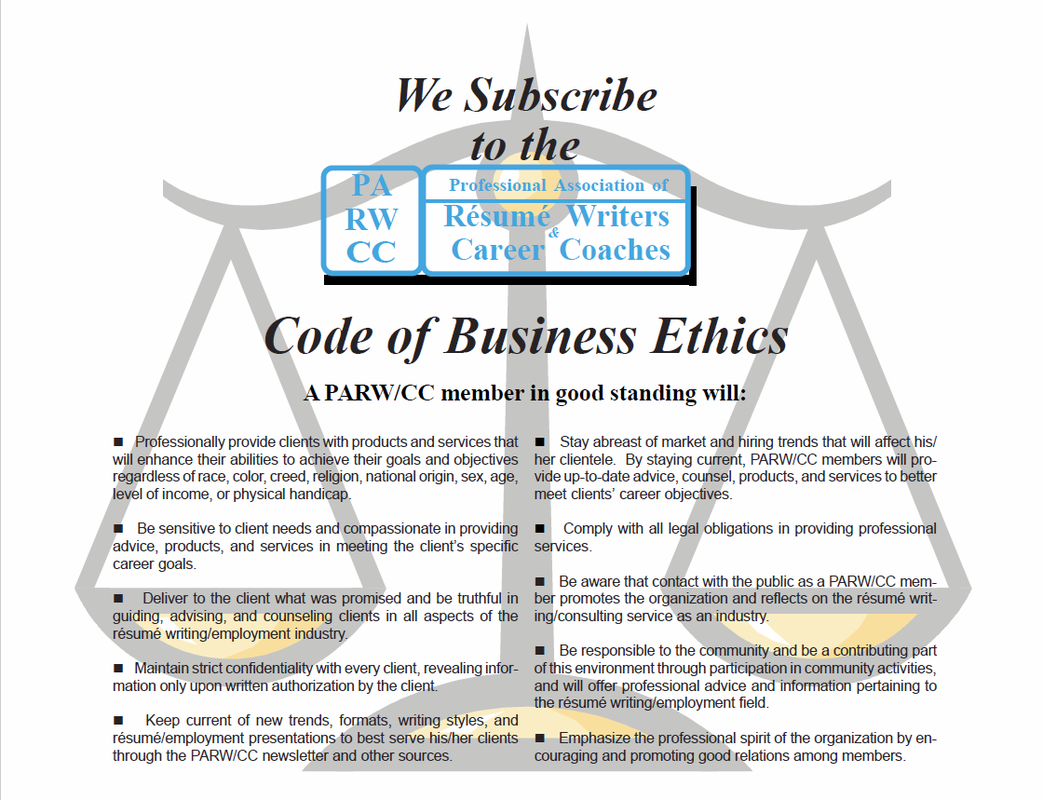 Code Of Ethics  Professional Resume Writing